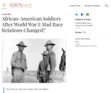 African-American Soldiers After World War I: Had Race Relations Changed?