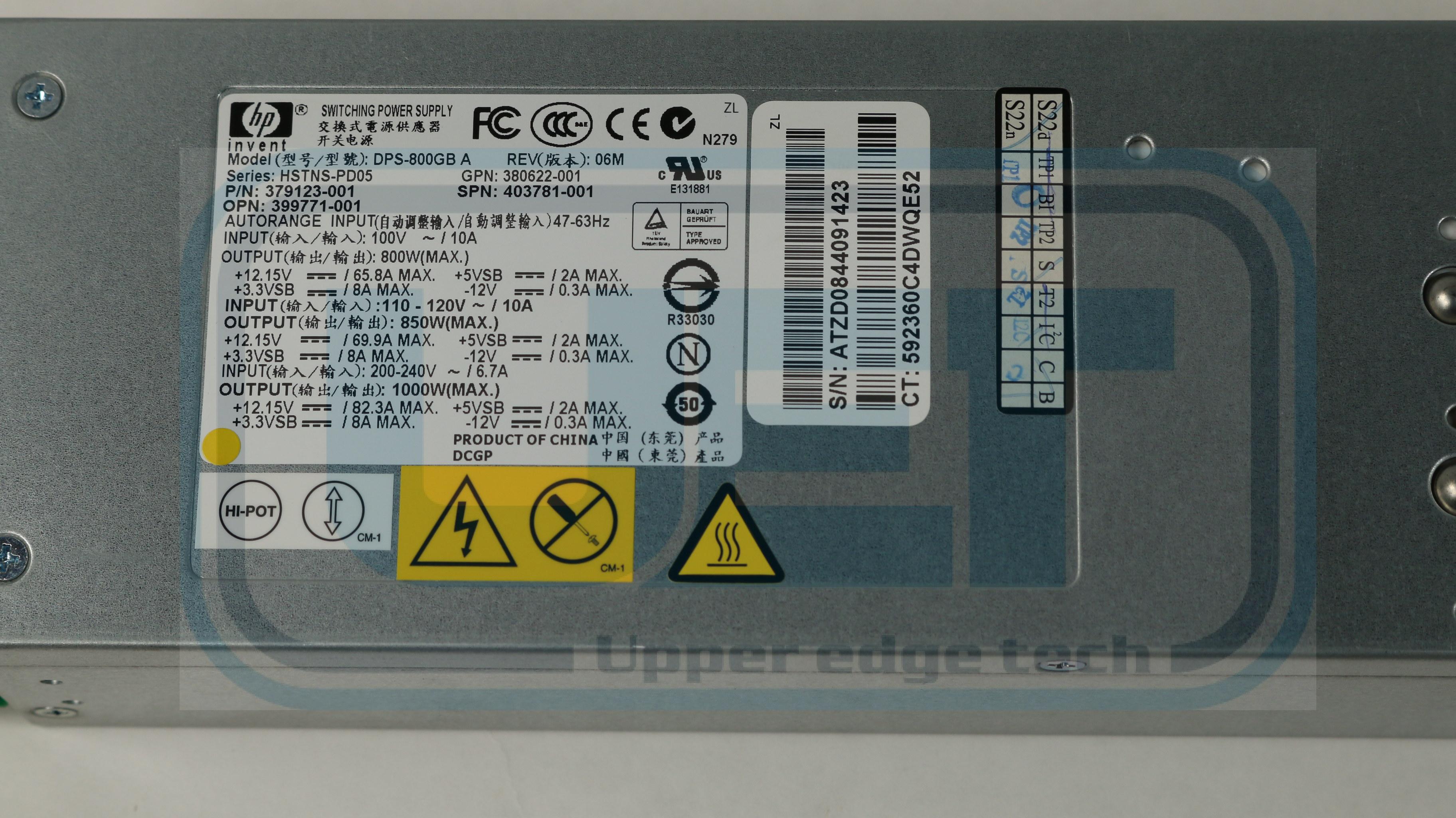 HP Proliant DL360E 754376-001 900W Power Supply Tested Warranty