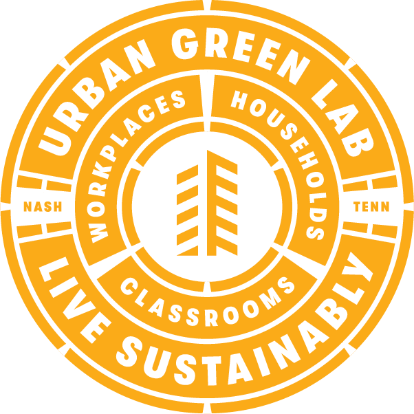 Urban Green Lab Seal: Live Sustainably. Workplaces. Households. Classrooms. Nashville, Tennessee.