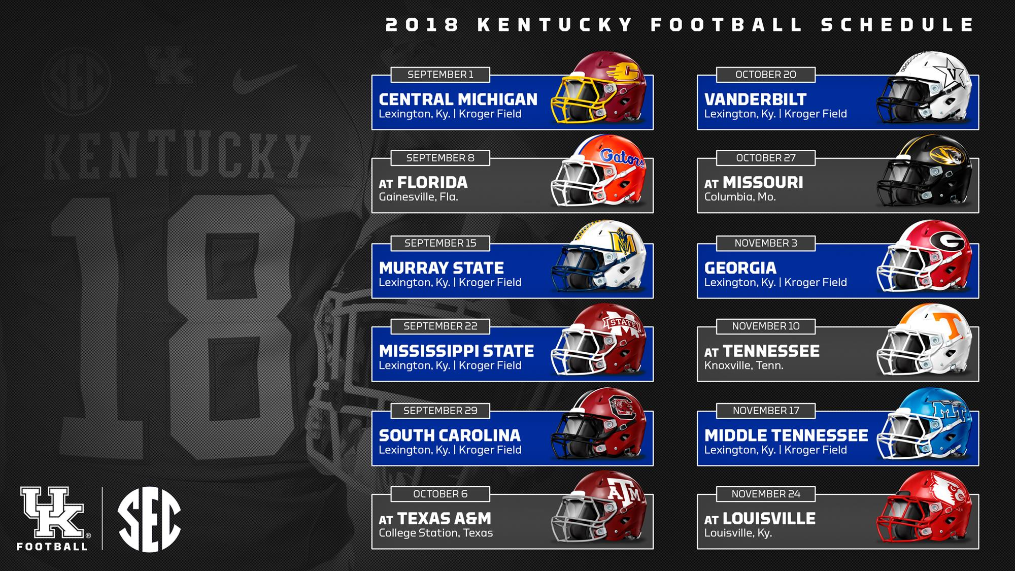 uk announces 2018 football schedule - university of kentucky athletics