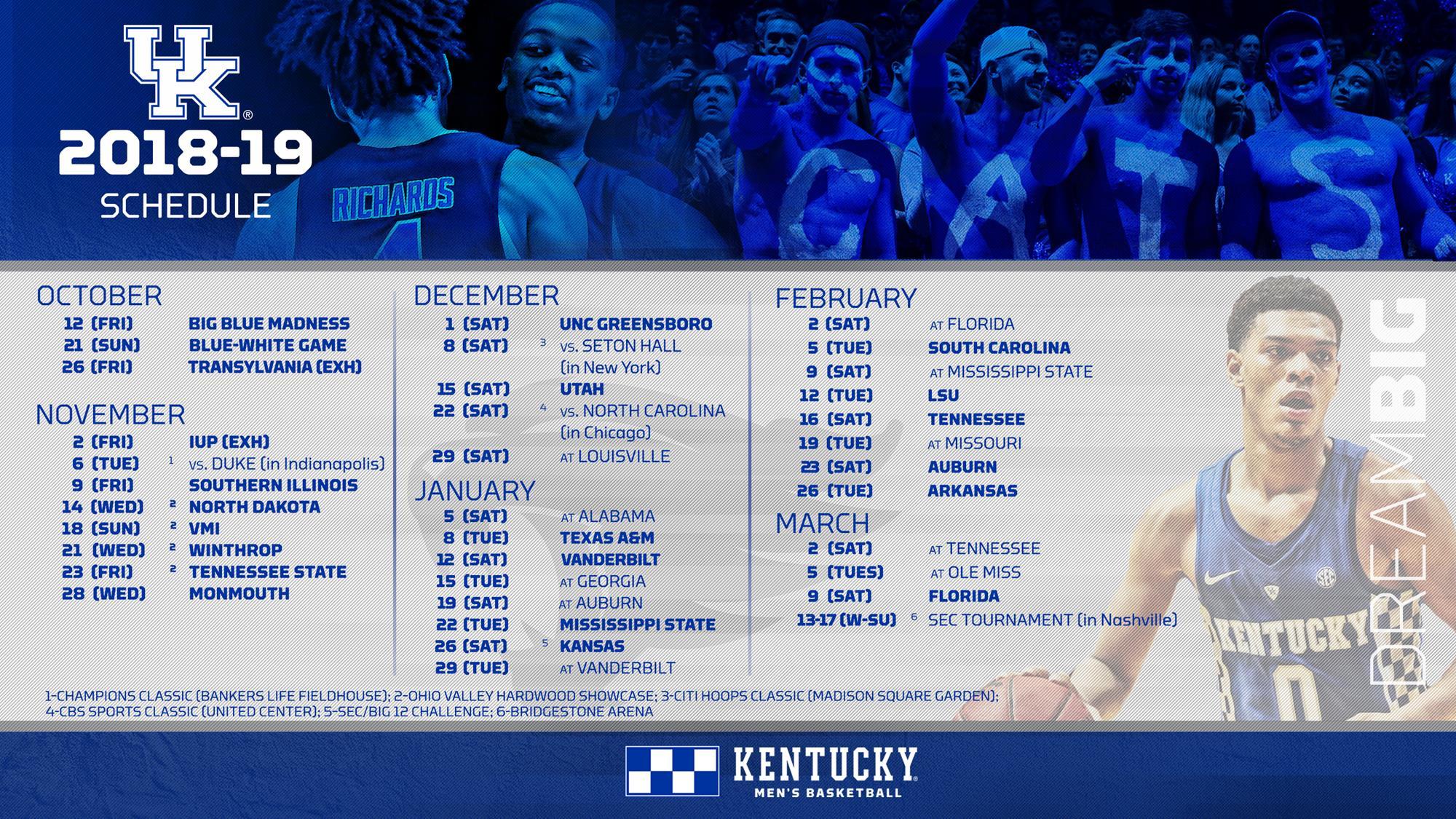 sec slate completes 2018 19 men s basketball schedule university