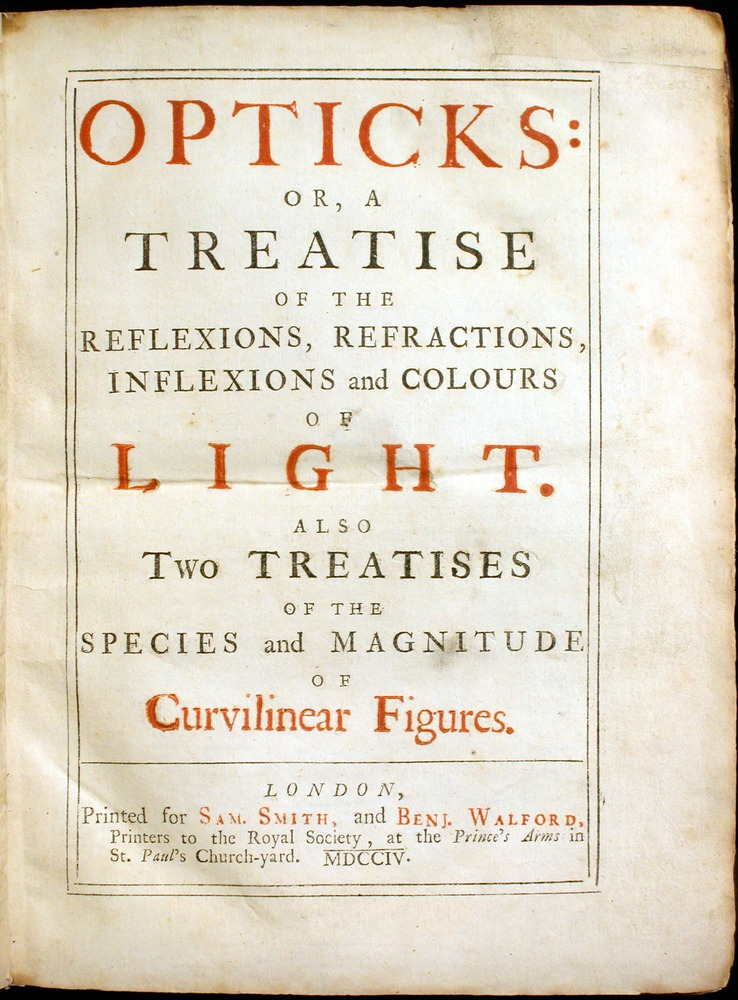 Image of Newton-Exhibit-1704-Opticks-tp