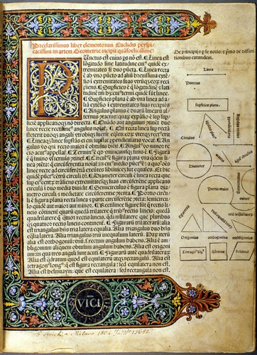Euclid, Elements of Geometry (Venice, 1482), held in the History of Science Collections, University of Oklahoma Libraries