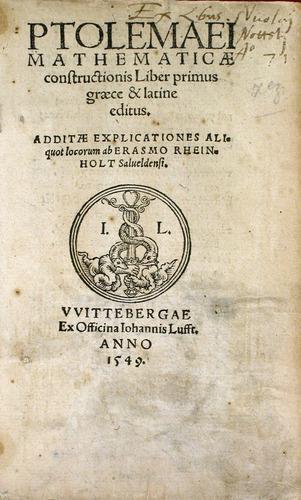 Ptolemy, Ptolemaei mathematic constructionis liber primus (Wittbergae, 1549)