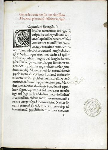 Gerard of Cremona, Theorica planetarum (1478)