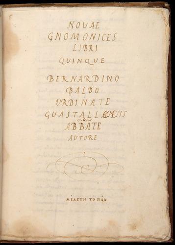 Bernardino Baldi, Novae gnomonices (1592)