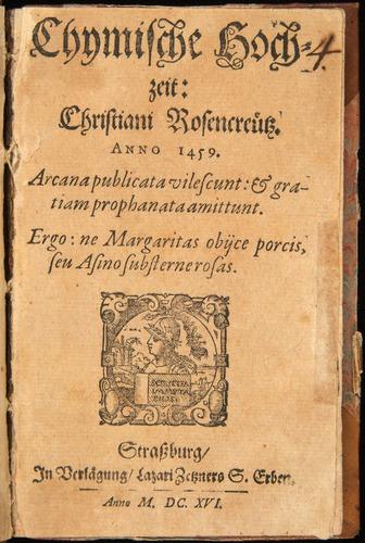 Chymische Hochzeit (1616), title page.