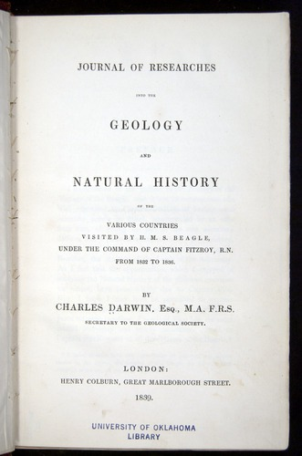 Darwin, Journal of Researches (1839), title page