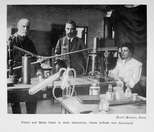 Marie and Pierre Curie in their laboratory where radium was discovered