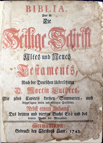 German Bible, Martin Luther, 1743.