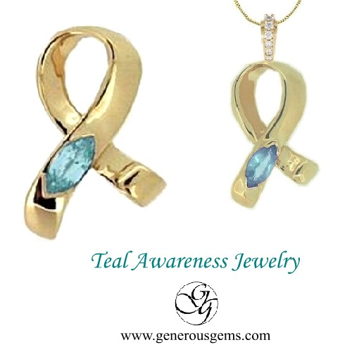 Teal Ribbon Jewelry