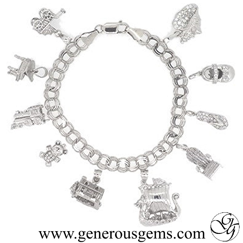white gold charms