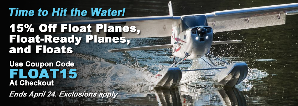 15% Off RC Float Planes, Float-Ready Planes & Floats