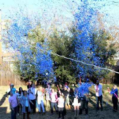 Gender Reveal Confetti Cannon with Blue Confetti