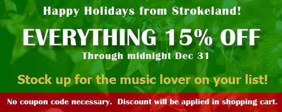 Strokeland Holiday Sale - 15% Off of All CDs and Merch!