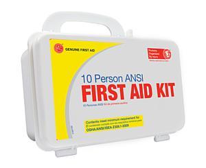 10 Person ANSI/OSHA First Aid Kit, Plastic Case W/Eyewash < Genuine First Aid #9999-2128