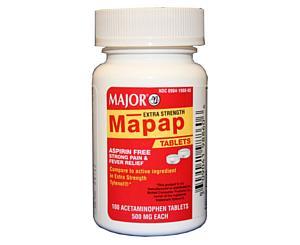 Acetaminophen Extra Strength Tablets 500mg, Bottle/100 < Major