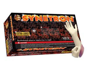 Synetron Extended Cuff Powder Free Latex Gloves - Small , Box/50