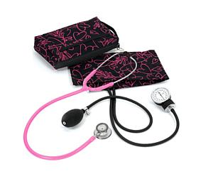 Aneroid Sphygmomanometer / Clinical Lite Stethoscope Kit, Adult, Pink Hearts Black < Prestige Medical #A121-PHB