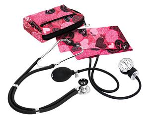 Aneroid Sphygmomanometer / Sprague-Rappaport Stethoscope Kit, Adult, Ribbons and Hearts Pink < Prestige Medical #A2-RPK