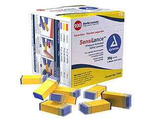 SensiLance Safety Lancets, Pressure Activated, 26G x 1.8 mm, Box/100 < Dynarex #7114