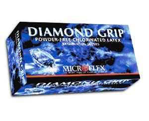 Diamond Grip Latex Exam Gloves - Medium , Box/100 < Microflex #MF-300-M