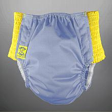 *Last One* Antsy Pants™ size S in Periwinkle with Yellow easy-stretch sides (littles apx. 15-30lb)