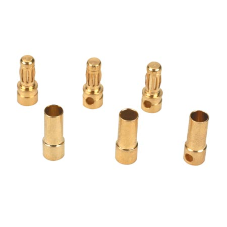 Gold Bullet Connector Set,3.5mm (3)