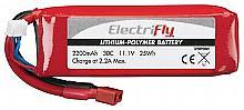 LiPo 3S 11.1V 2200mAh 30C Elctrfly w/Star Plug