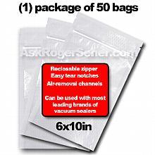 Weston Zipper Seal Vacuum Bags - Pint 6 x 10 (50 ct.) 30-0206