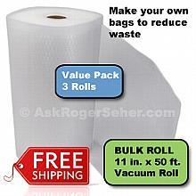 Value Pack of (3) Rolls of 11 in. x50 ft. Vacuum Sealer Bagging  ** FREE Shipping ** ***** In Stock, Ready to Ship *****