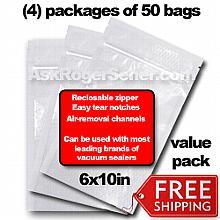 Weston Zipper Seal Vacuum Bags - Pint 6 x 10 (200 ct.) 30-0206-W Bulk Value Pack w/ Free Ground Shipping
