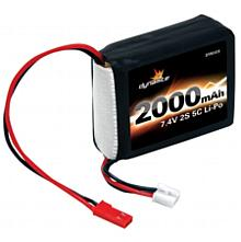 7.4V 2000mAh 2S 5C LiPo Receiver Pack: 1/8