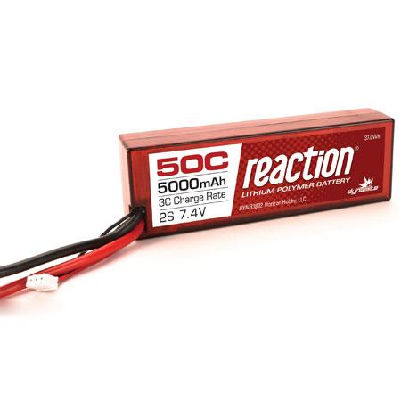 Reaction 7.4V 5000mAh 2S 50C LiPo, Hardcase: EC3