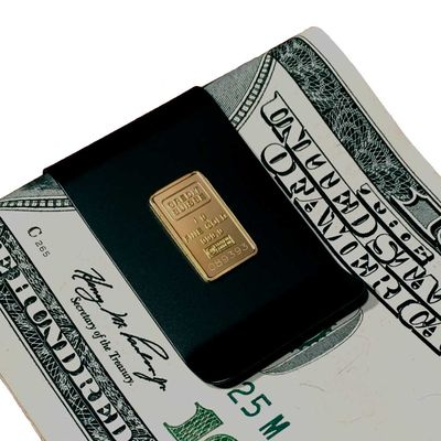 Gold Ingot Mounted on Titanium Money Clip