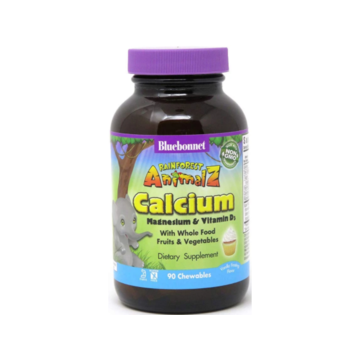 RAINFOREST ANIMALZ® CALCIUM MAGNESIUM & VITAMIN D3 FOR CHILDREN VANILLA FROSTING FLAVOR 90 CHEWABLES - Bluebonnet