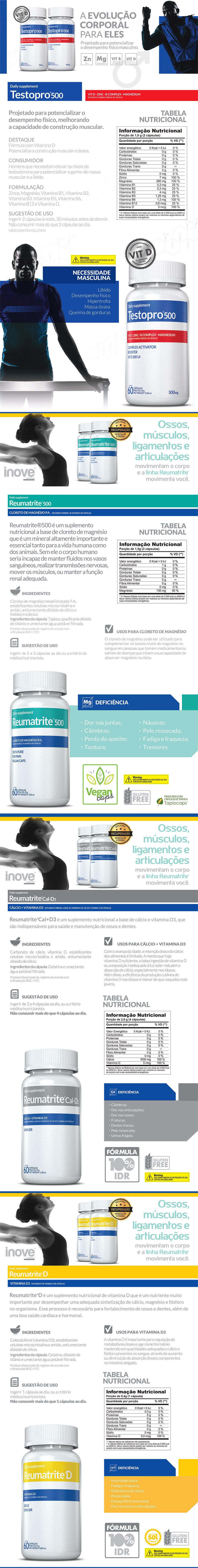 TestoPro® 500 + Reumatrite® 500 + Reumatrite® D + Reumatrite® Cal-D3