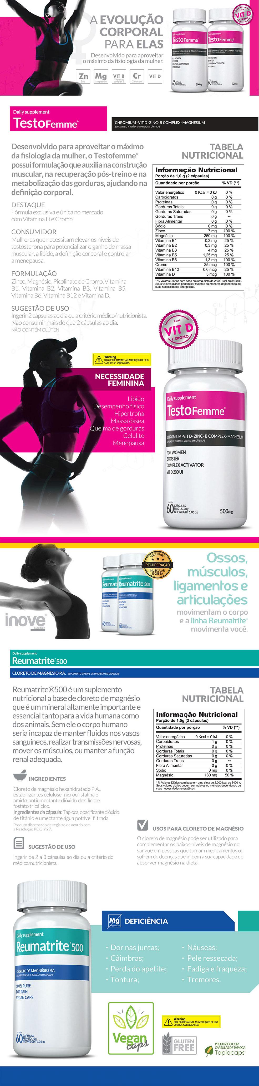 TestoFemme® + Reumatrite® 500 + Squeeze Inove Nutrition