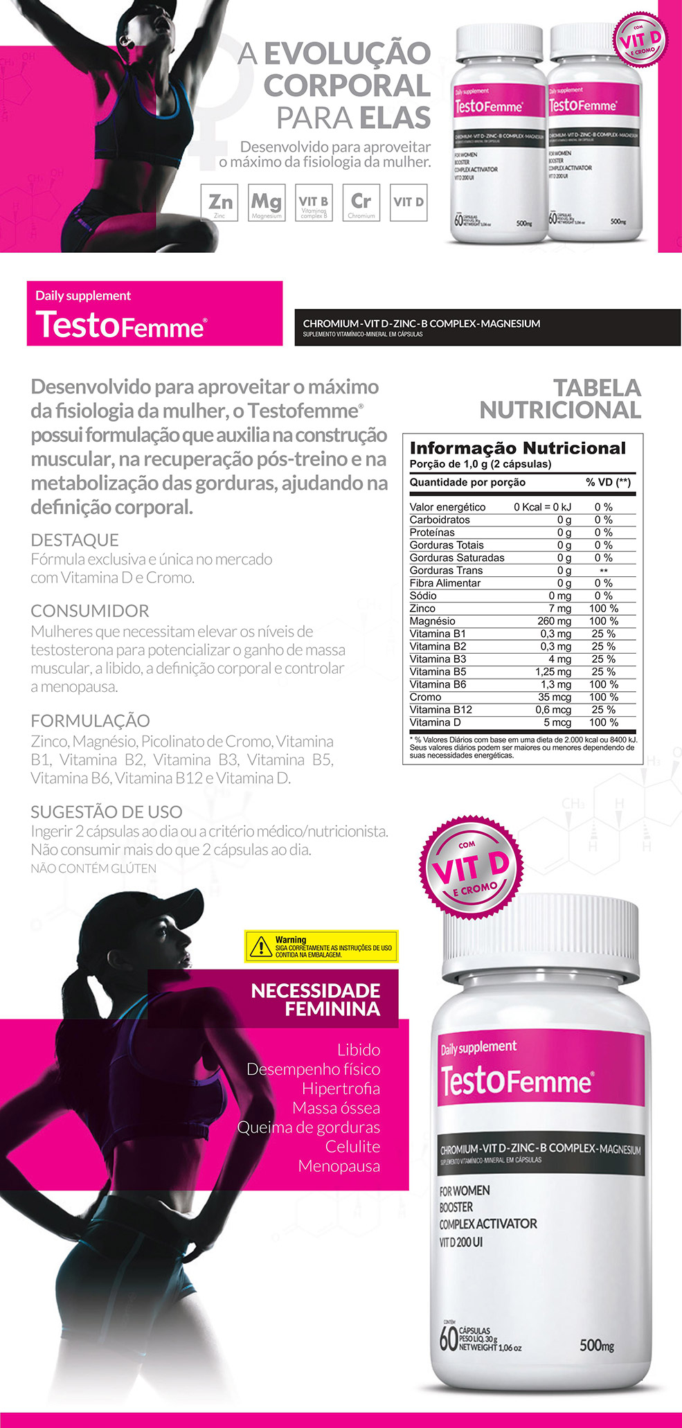 Kit 2 TestoFemme® +2 Squeeze Inove Nutrition