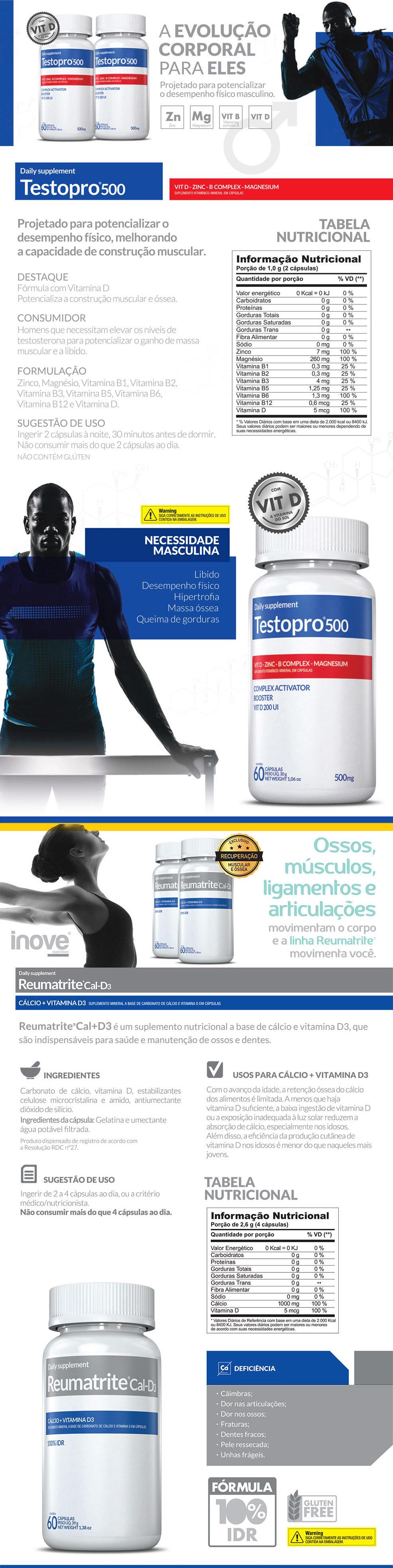 TestoPro® 500 + Reumatrite® Cal-D3 + Squeeze Inove Nutrition