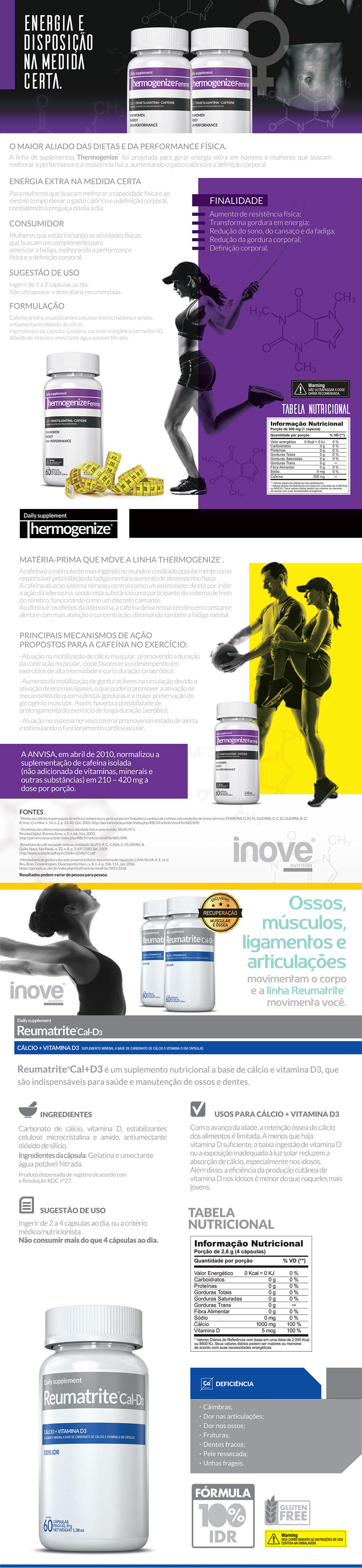 Thermogenize Femme® + Reumatrite® Cal-D3 + Squeeze Inove Nutrition