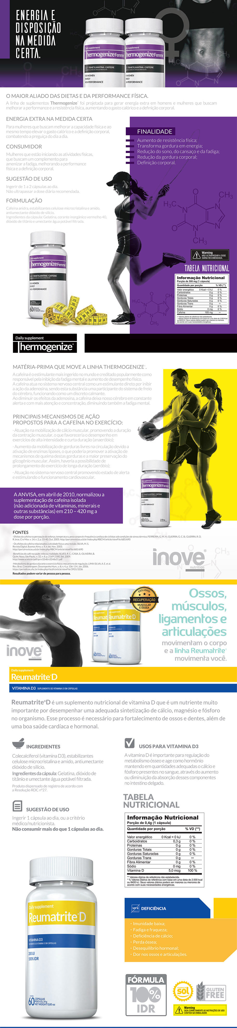 Thermogenize Femme® + Reumatrite® D + Squeeze Inove Nutrition