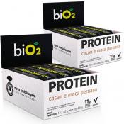 Kit 2 Caixas Bio2 Protein Bar Organic (24 barras) - Cacau e Maca Peruana