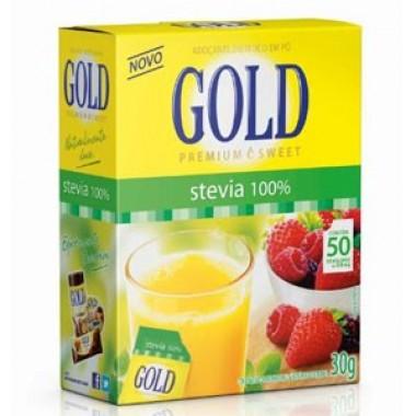 Adoçante Stévia 100% 50 envelopes Gold Nutrition