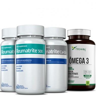 Kit 2 Reumatrite® 500 + 1 Reumatrite® Cal-D3 + 1 Omega 3 60 Caps Grátis