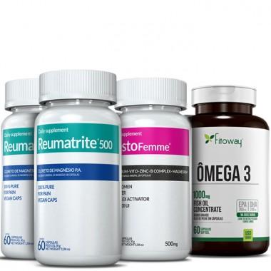 Kit 2 Reumatrite® 500 + 1 TestoFemme® + 1 Omega 3 60 Caps Grátis