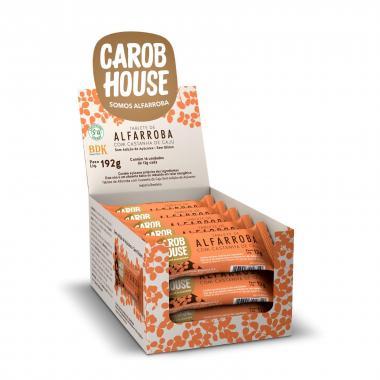 Alfarroba com Castanha de Caju 12g (caixa c/ 16 tabletes) Carob House