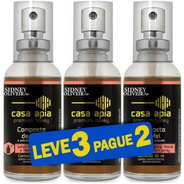 Composto de Mel e Própolis Sabor Gengibre, Romã E Menta Casa Apia - Sidney Oliveira Spray 30ml (Leve 3 Pague 2)