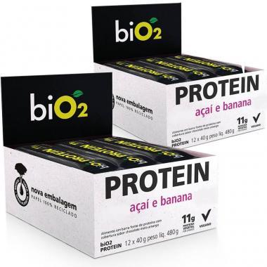 Kit 2 Caixas Bio2 Protein Bar Organic (24 barras) - Açaí e Banana