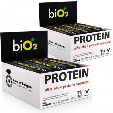 Kit 2 Caixas Bio2 Protein Bar Organic (24 barras) - Alfarroba e Amendoim